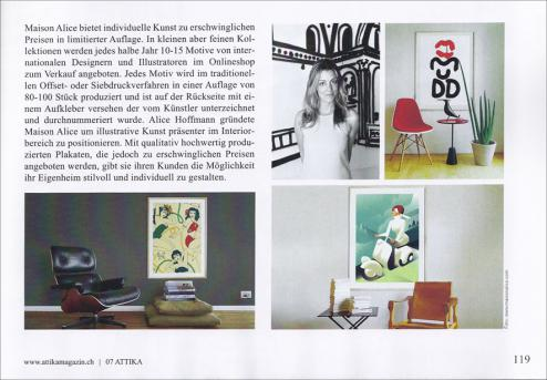 Maison Alice in dem Züricher Lifestyle Magazin Attika